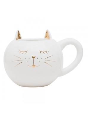 Vaso Caneca Cerâmica Branco Gato 12cm