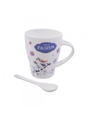 Caneca De Porcelana Com Colher Anna Elsa & Olaf Gelo Frozen 310ml - Disney