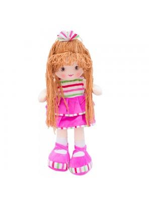 Boneca Laço Cabelo Saia Pink 50cm