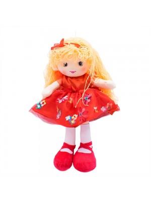 Boneca Vestido Vermelho Cabelo Laranja Encaracolado 46cm