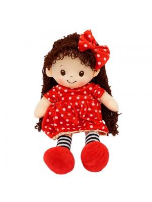 Boneca Vestido Vermelho Cabelo Cacheado 48cm