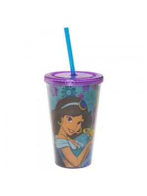 Copo Com Canudo Princesa Jasmine Aladdin 450ml - Disney