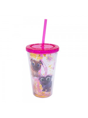 Copo Canudo Rosa Puppy Dog Pals 450ml - Disney