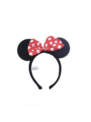 Tiara Com Orelhas Minnie E Laçinho Vermelho Com Pontos Brancos - Disney