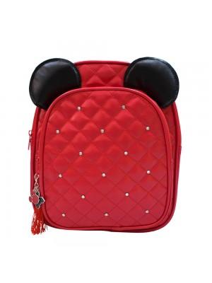 Mochila Vermelha Orelhas Mickey 26x30x10cm - Disney