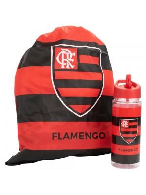 Garrafa Plástico 450ml Com Mochila Tipo saco - Flamengo