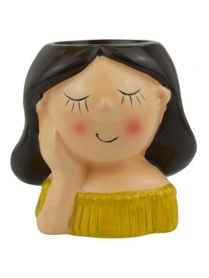 Vaso Cerâmica Mulher Roupa Amarela Mão Rosto 10.5cm