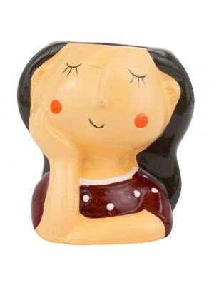 Vaso Cerâmica Mulher Roupa Marrom Mão Rosto 10.5cm