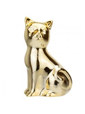 Gato Cerâmica Dourado Sentado Lado 9cm