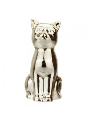 Gato Cerâmica Dourado Sentado 9cm