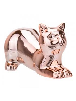 Gato Cerâmica Rosê Deitado 11cm