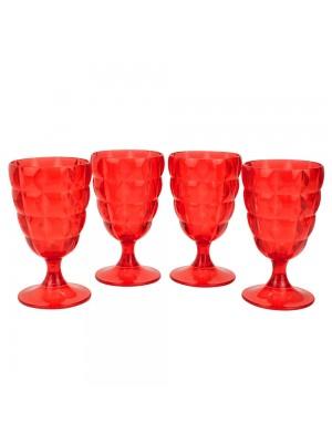 Jogo 4 Taças Vermelhas Acrílico 250ml