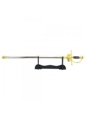 Espada Rapieira Dourada Esgrima Européia Decorativa 91cm