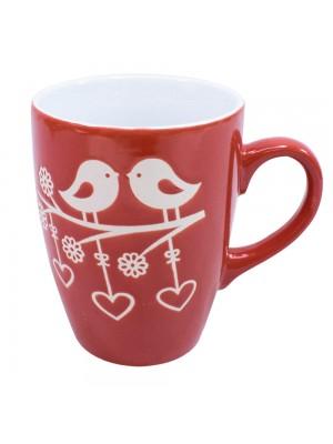 Caneca Porcelana Vermelha Pássaros 310ml