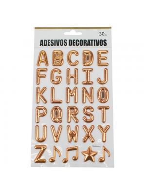 Adesivo Decorativo Letras Alfabeto Rosê 25x14cm
