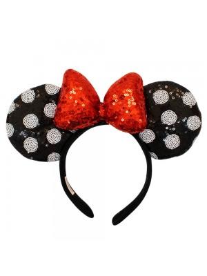 Tiara Laço Vermelho Orelhas Preto Branco Minnie Lantejoulas - Disney