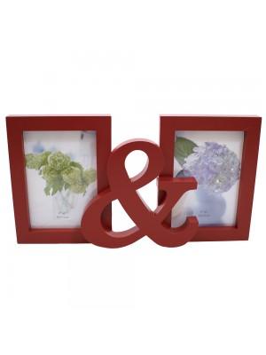 Porta Retrato Vermelho & 2 Fotos 10X15cm
