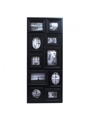 Multi Porta Retrato Retangular Preto 10 Fotos Tamanhos Variados