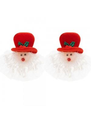 Jogo 2 Presilhas Papai Noel 12x10cm - Enfeite Natalino