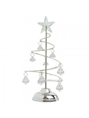 Luminária Árvore Natal Branca 21cm - Enfeite Natalino