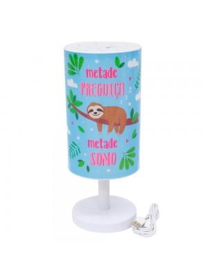 Luminária Abajur Bicho Preguiça 30.5cm - Projeto Kiwi
