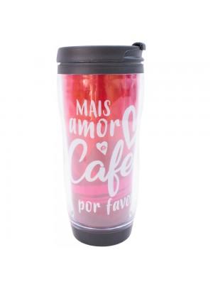 Copo Com Tampa Mais Amor E Café Por Favor 350ml - Projeto Kiwi