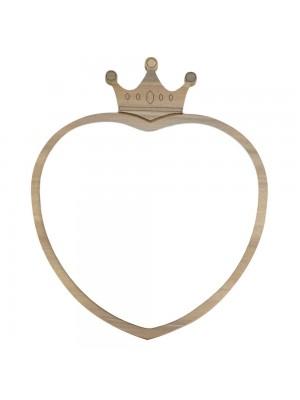 Espelho Coração Coroa 22x18cm