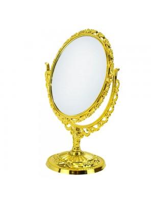 Espelho Redondo Dourado Dupla Face 26x21cm