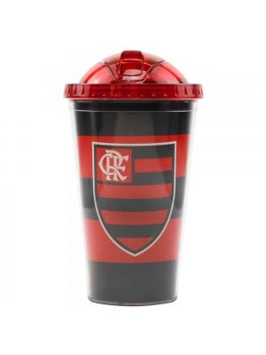 Copo De Plástico Com Canudo 450ml - Flamengo