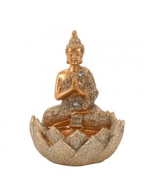 Buda Dourado Porta Vela 10cm