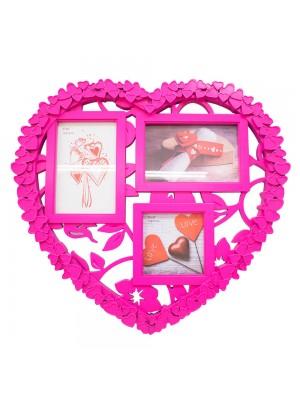Porta Retrato Pink Coração 3 fotos