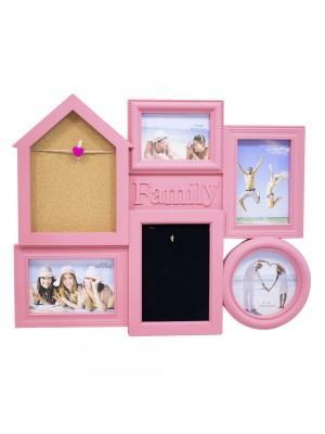 Multi porta retrato casa rosa 5 fotos + gancho