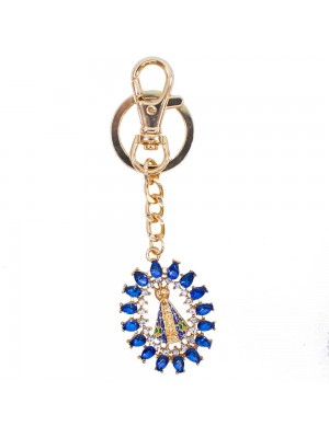 Chaveiro Nossa Senhora Aparecida Detalhes Azul 4.2cm