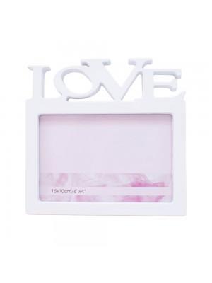 Porta Retrato Branco Love 1 foto 10x15cm
