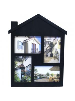Multi Porta Retrato Preto Casa 4 Fotos 10X15cm