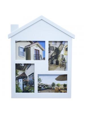 Multi Porta Retrato Branco Casa 4 Fotos 10X15cm