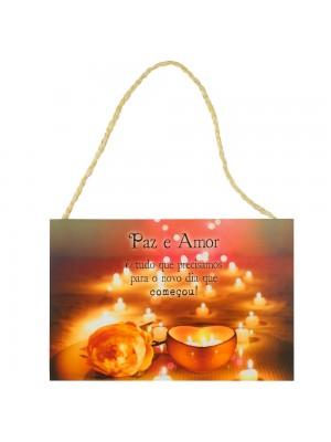 Placa Decorativa Paz E Amor É Tudo Que Precisamos 20x30cm