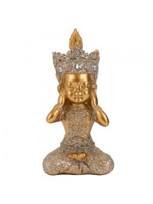 Buda Dourado Não Ouço 12cm