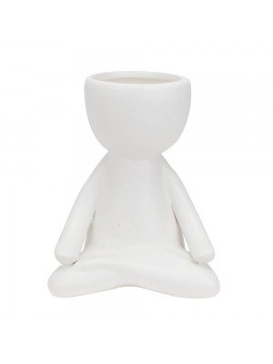Vaso Branco Cerâmica Boneco Meditação 12x8x10cm