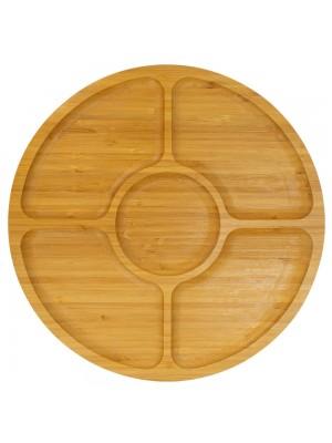 Tábua Petisqueira Redonda Bambu 5 Divisórias 1.5x29.5x29.5cm