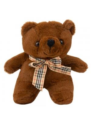 Chaveiro Urso Marrom Escuro Laço 15cm - Pelúcia