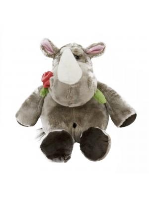 Rinoceronte Com Rosa Na Boca 23cm - Pelúcia
