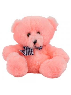 Urso Rosa Laço Sentado 18cm - Pelúcia