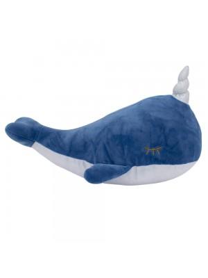 Baleia Narval Azul Chifre 38cm - Pelúcia