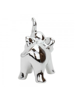 Elefante Porcelana Prateado 10cm