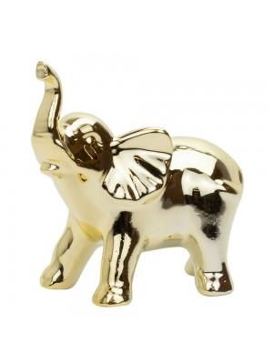 Elefante Porcelana Dourado 10cm