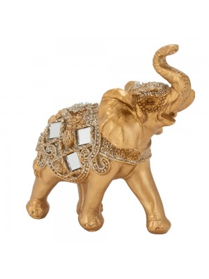 Elefante Dourado Trompa Levantada 10cm - Resina Animais