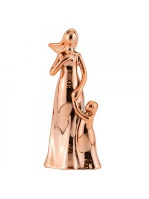 Mãe Criança Porcelana Rosê Modelo C 17cm
