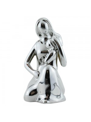 Mãe Criança Porcelana Prateado Modelo A 12cm