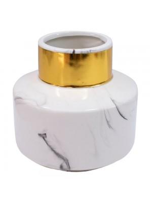 Vaso Porcelana Branca 13x13.5x13.5cm